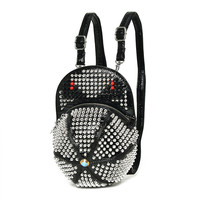 Fashion New Womens Leather Cap Backpack Punk Rock Cool Shiny Rivet Bag Ladies Shoulder Bags School Backpacks For Teenager Girls