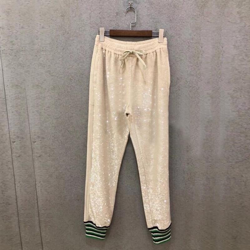 Femmes De Marque Paillettes Casual Pour Concepteur Pantalon Luxe qIrAwIf