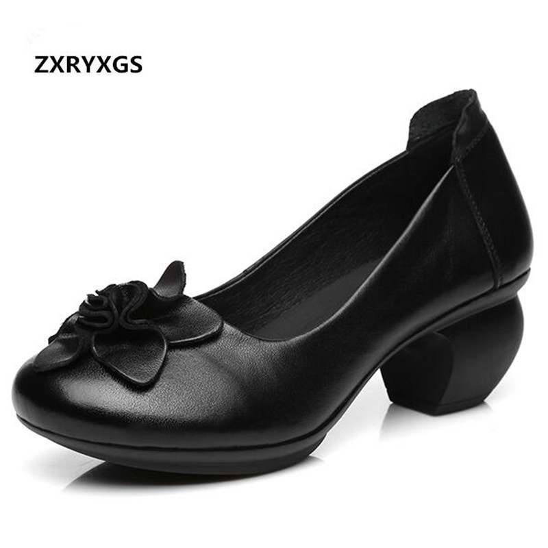 2018 New Elegant Comfortable Flower Genuine Leather Shoes Woman Fashion Shoes Non-slip Thick with High Heels 6 Cm Wedding Shoes aiyuqi spring new genuine leather women shoes with thick with non slip lace comfortable mother hand made women s singles shoes