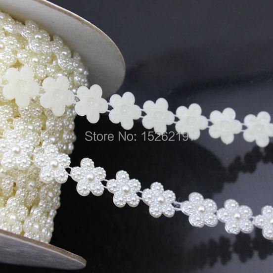 5Yards 14mm Flower Shape Flatback White Imitation Natural pearl Beads Craft Decoration DIY Jewelry Finding Accessories F1578