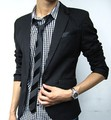 Moda terno casacos silm britânicos casual Mens Impressionante slim fit Jacket Blazer Curto Brasão um terno do Botão