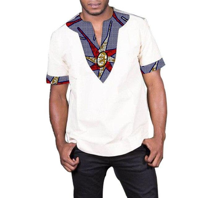 7490fd3688a Patchwork imprimer dashiki hauts à manches courtes hommes vêtements  africains mode v-cou chemise