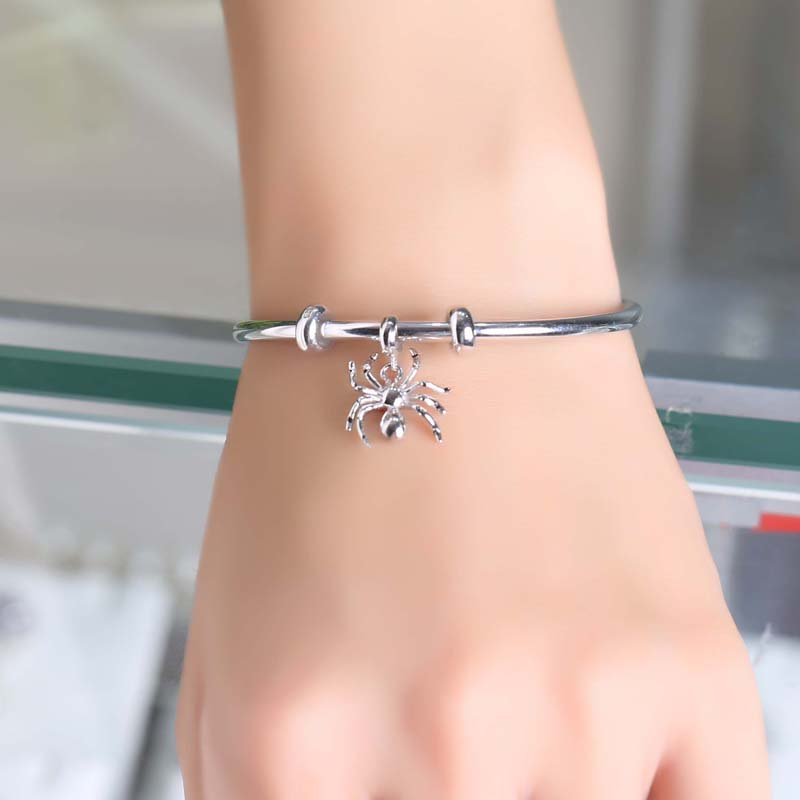 Zhaoru 925 Sterling Silver Spider Pendant Charm Fit Bracelet Bangle Necklace Animal Jewelry Fashion Charm in 925 Silver in Pendants from Jewelry Accessories