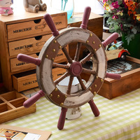 38CM Wooden Boat Ship Rudder Large Home Wall Steering Wheel Wood Craft Gift Home Nautical Decor