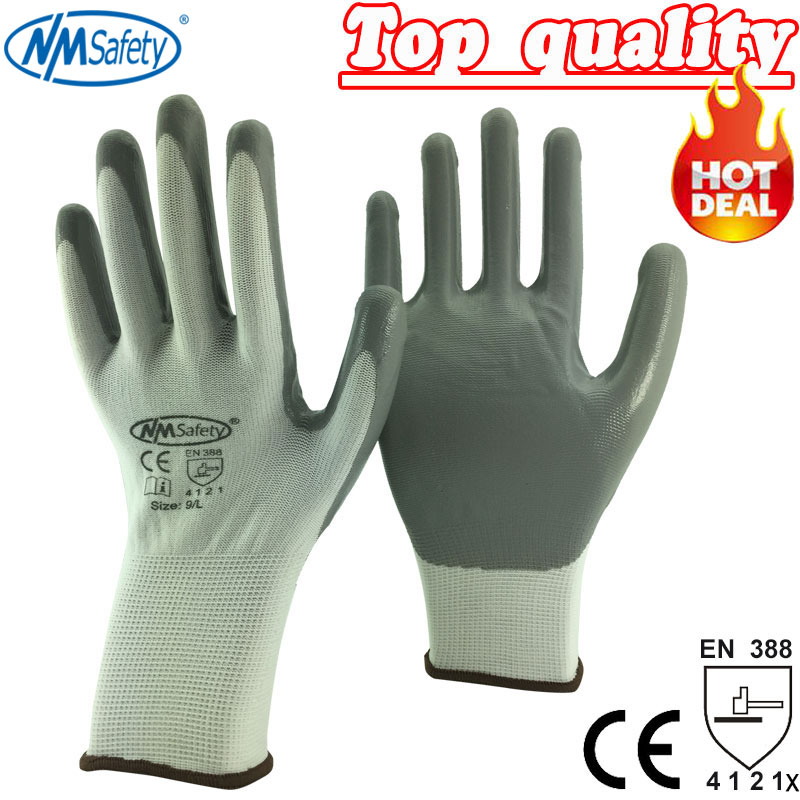 NMSafety White Cotton Gloves Dipped Nitrile Palm Protective Work Gloves 1 double cotton gloves white green