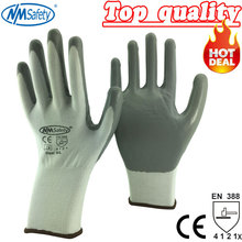 NMSafety White Cotton Gloves Dipped Nitrile Palm Protective Work Gloves