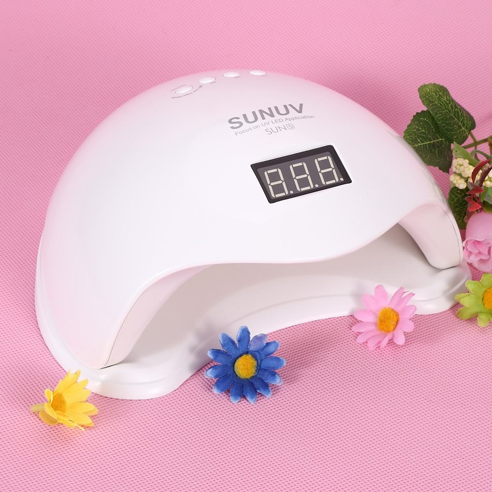 SUNUV SUN5 48W Dual UV LED Nail Lamp Nail Dryer Gel Polish Curing Light with Bottom 30s/60s Timer LCD display EU/US PLUG sunuv sun4 48w professional uv led nail dryer lamp gel polish nail dryer manicure tool for curing nail gel polish nail drill set