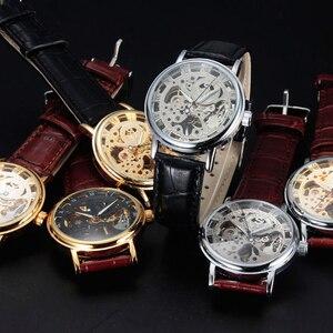 Image 5 - カジュアル新ファッション Sewor ブランドスケルトン男性男性軍の軍隊時計古典的な高級ゴールド機械式ハンド風腕時計ギフト