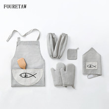 Printed Cute Fish Pattern Cooking Dining Room Kitchen BBQ Restaurant Cleaning Pocket Housework Oven Mitts Oversleeve Apron Kit