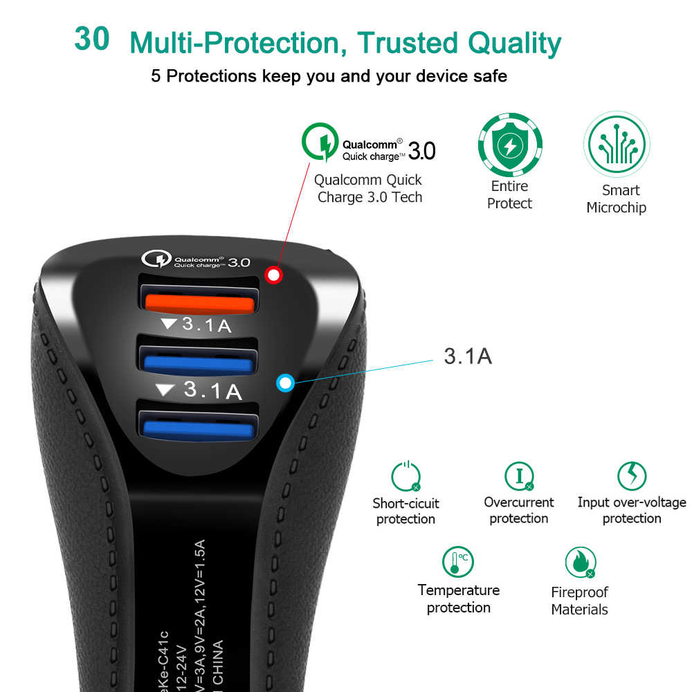 شاحن هاتف محمول سريع الشحن بمنفذ يو إس بي ثنائي 3.0 مهايئ شاحن سيارة لشاومي وسامسونج وأيفون إكس وإكس إس 7 بلس شاحن سيارة سريع QC 3.0
