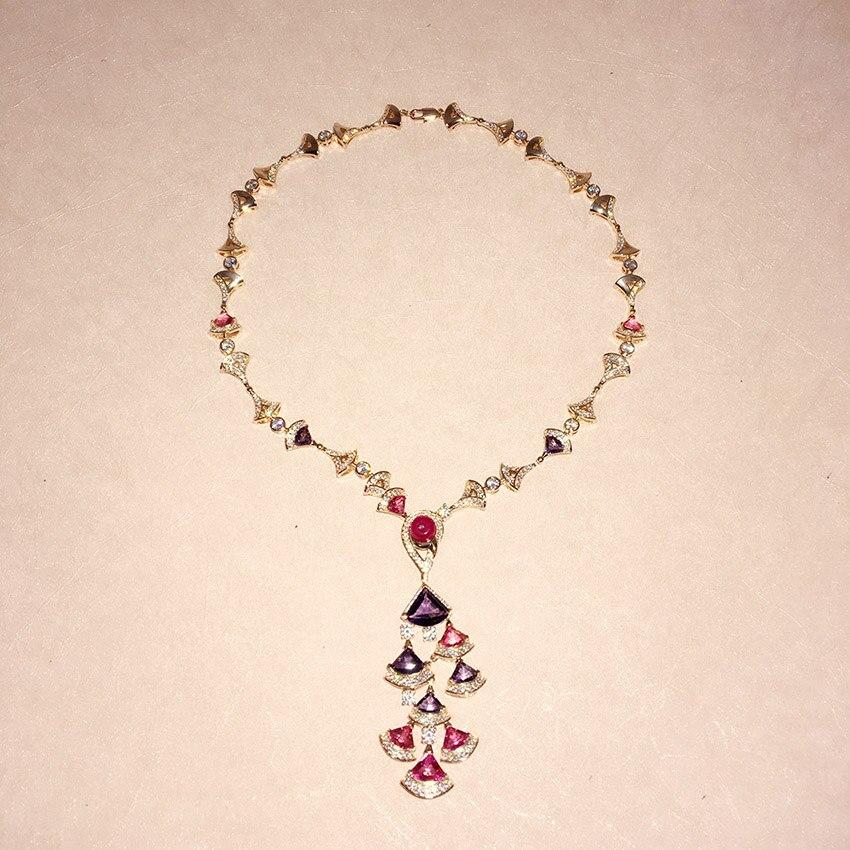925 Silver New Fashion Jewelry Fan Shape Crystal Drop Necklace For Women Elegant Rhinestone Dangle Brincos