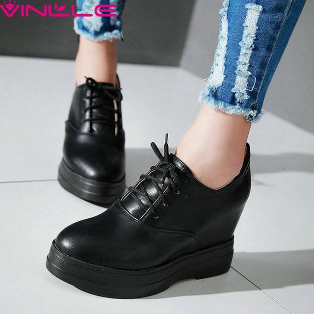 VINLLE Размер 34-39 Дамы ПУ Кожа Повседневная Обувь Клин Высокие каблук Круглым Носком Женщины Насосы Дамы Зашнуровать Платформа обувь