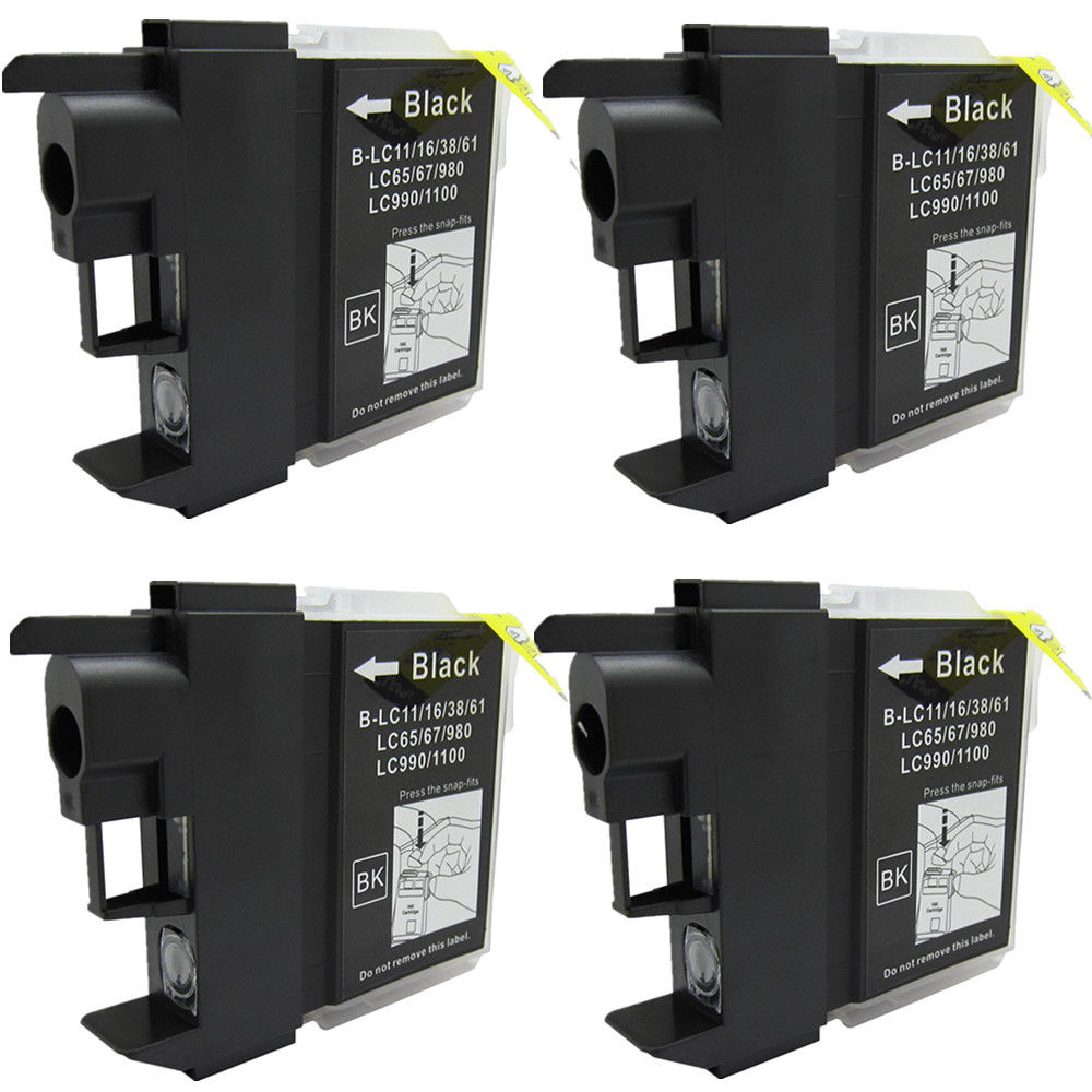 4x LC980 LC1100 Ink Cartridges Compatible for Brother DCP-145C DCP-165C DCP-185C DCP-195C