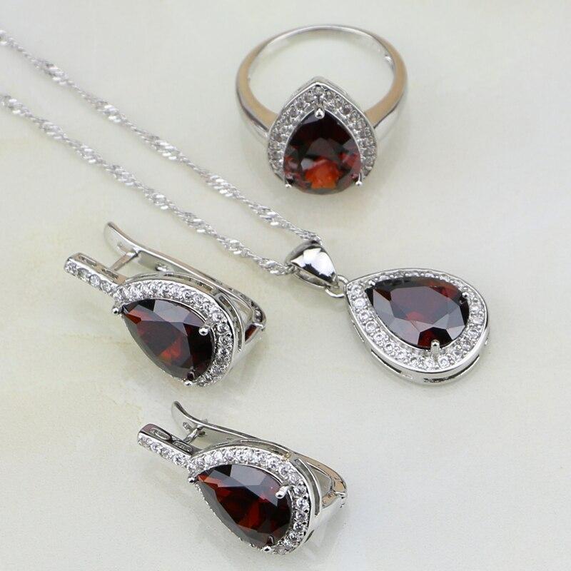 9a055d882130 ᗜ LjഃBaisse Rouge Cubique Zircone Blanc CZ 925 Bijoux En Argent ...