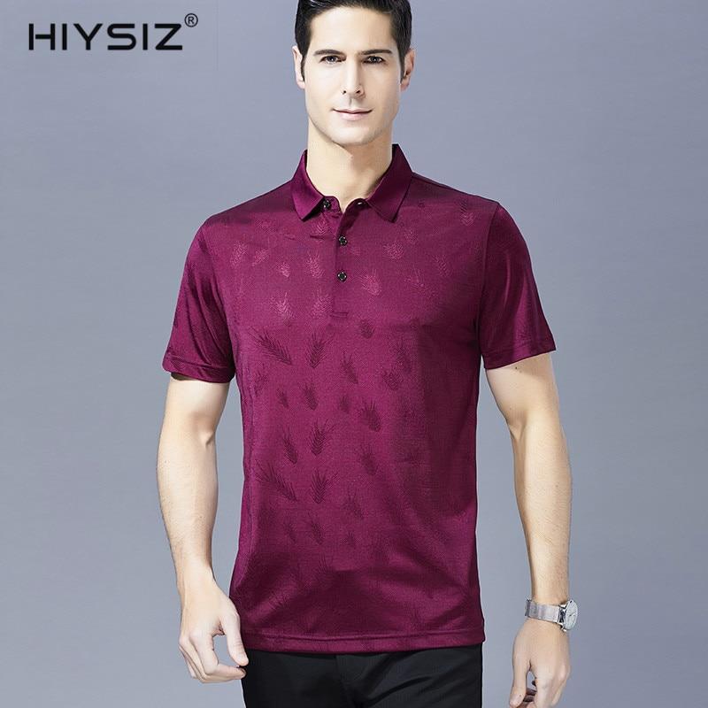 HIYSIZ nouveaux T-Shirts hommes 2019 Top décontracté Grain d'orge Streetwear hommes t-shirt col rabattu hommes T-Shirts courts pour l'été ST044