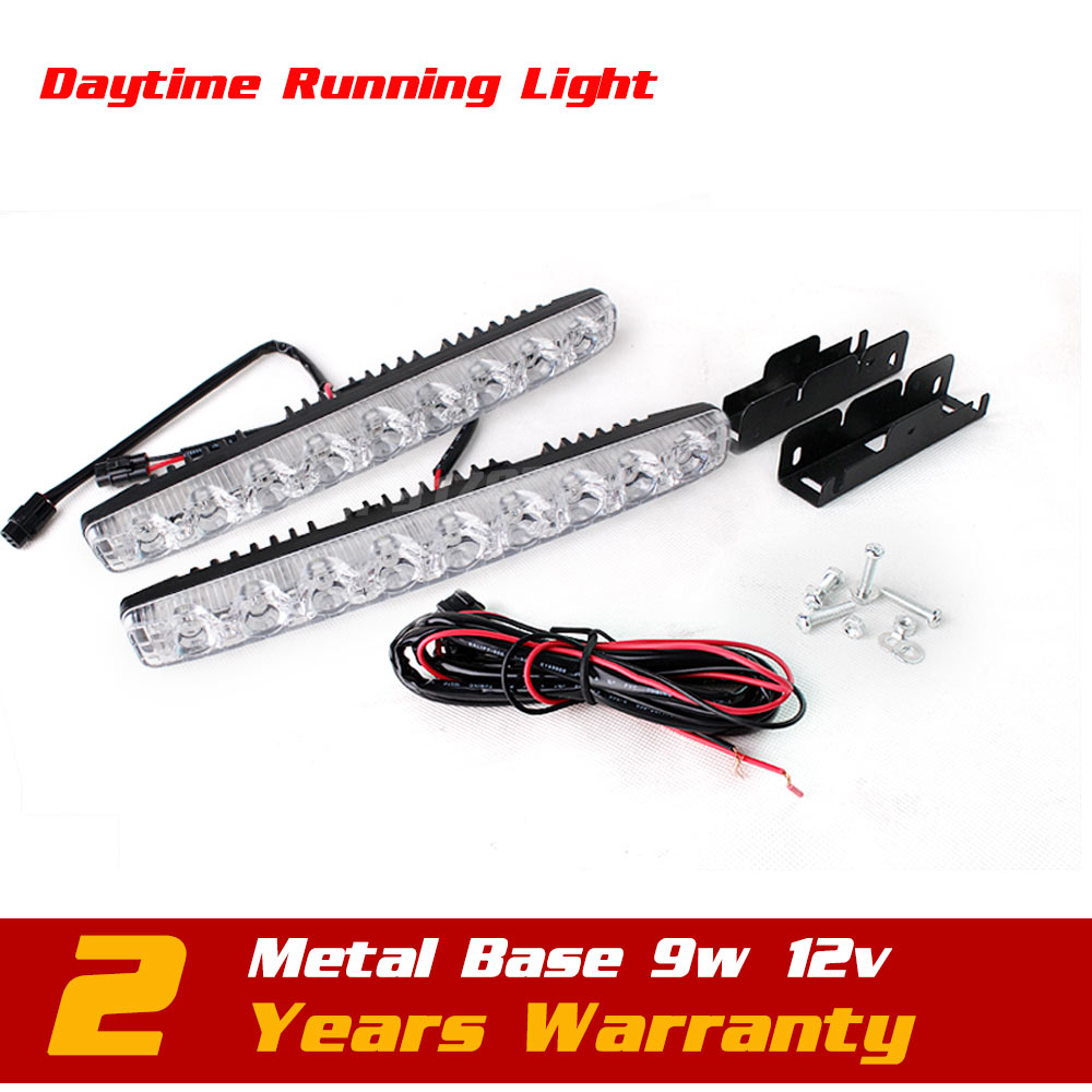 ФОТО 12v 9W LED Daytime Running Light White Color Waterproof Universal Car Day Driving Light Kit Light External Light Seckill 5w 6w