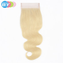 BY 4x4 Top Lace Closure Blonde 613 Platinum 10 - 22 Inch Remy Human Brazilian Body Wave Closure Swiss Lace Closure(China)
