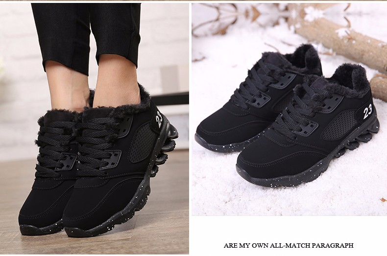 2017 Fashion Winter Women Casual Shoes Plush Warm Sport Low Top Women Shoes Black Pink Breathable Lace Up Woman Trainers YD165 (19)