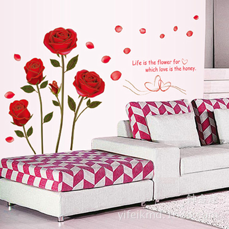 Bedroom Art Supplies: New Romantic Rose Love 3D Wall Stickers Home Living Room