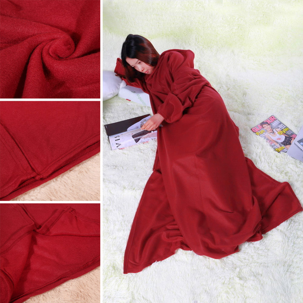 1pcs Women Blanket Winter Warm Fleece Snuggie Blankets Robe Cloak With  Sleeves Supper For Home Use