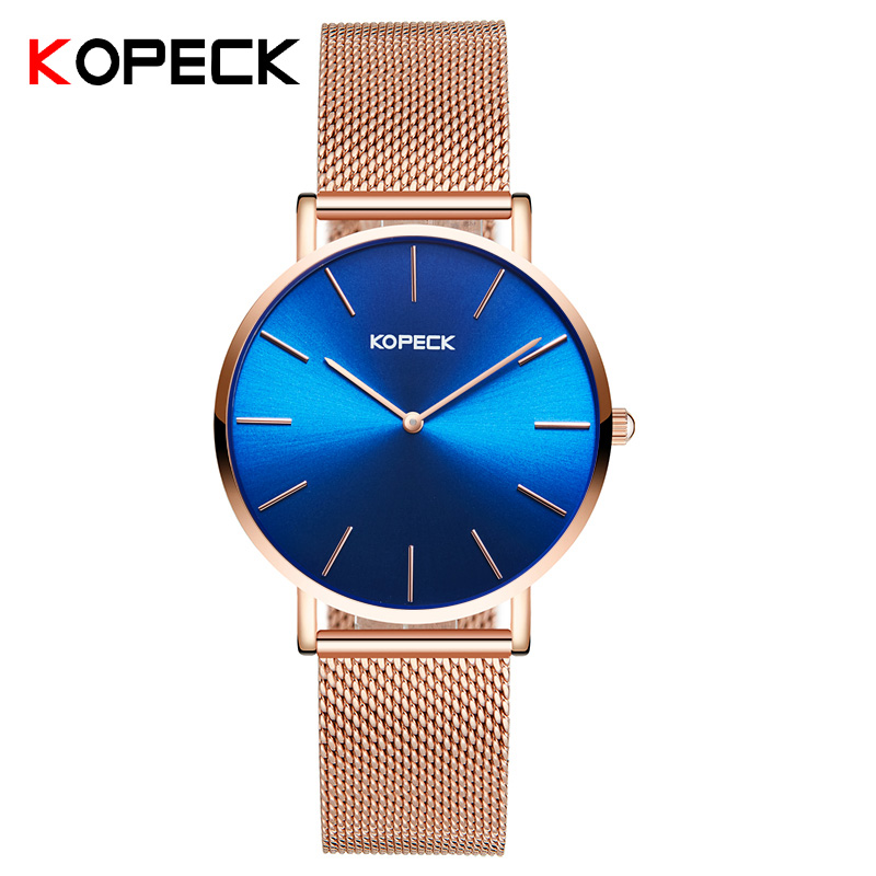 Kopeck Brand Ultra-Thin Quartz Watch Women Milan Stainless Steel Mesh Strap Strap Women Watches Fashion Blue Dial Montre Femme arabic numbers dial design women s fashion watch stainless steel ultra thin silver women quartz watches bgg brand horloge saat