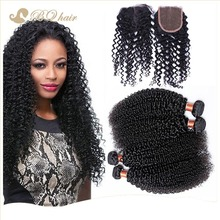 Kinky Curly 4 Bundles With Lace Closure Cheap 7A Rosa Unprocessed Brazilian Free Part Closure With Virgin Human Hair Weaves