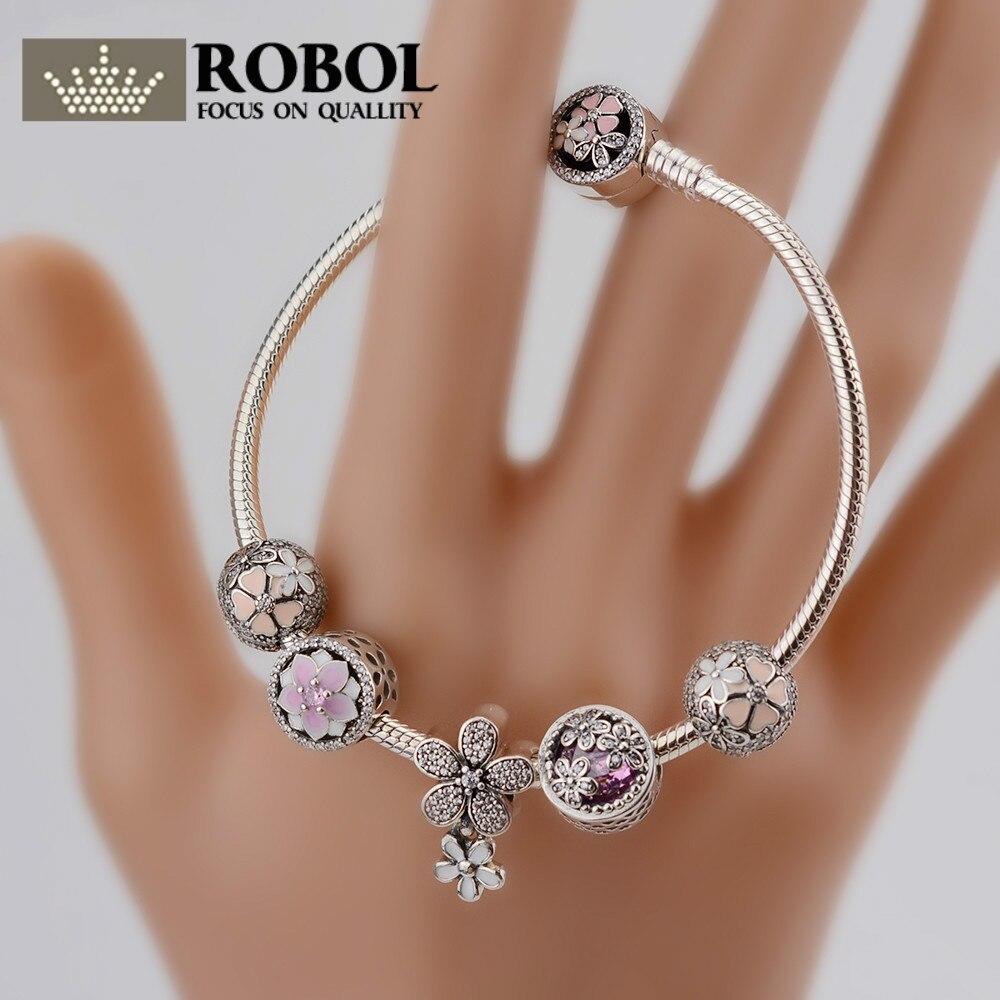 ROBOL Genuine 100% 925 Sterling Silver Bracelet For Set Women Spring flowers Star Original birthday Gift charm Jewelry