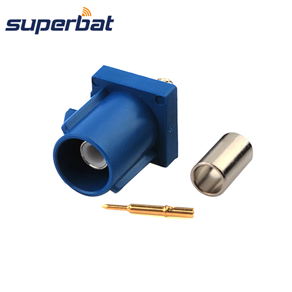 Superbat Car GPS DAB Radio Antenna Connector Fakra C Blue/5005 Male Plug Connector Crimp For Cable RG316 RG174 LMR100 Navigation
