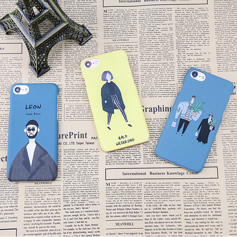 Funny Artistic Character pattern case For iphone 7 8 Case Letter LEON girl and boy Yellow Blue color Hard PC Phone Back Cover