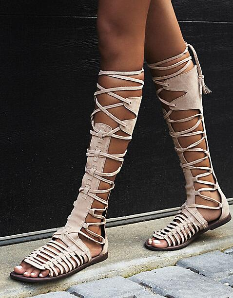 2 3 Dames Femmes Sexy Bohême D'été Cuir Lacets Gladiateur Plat Bottes 1 Fringe Zapatos Sandale Daim Haute En À Genou De Qualité 1qR5qaTw