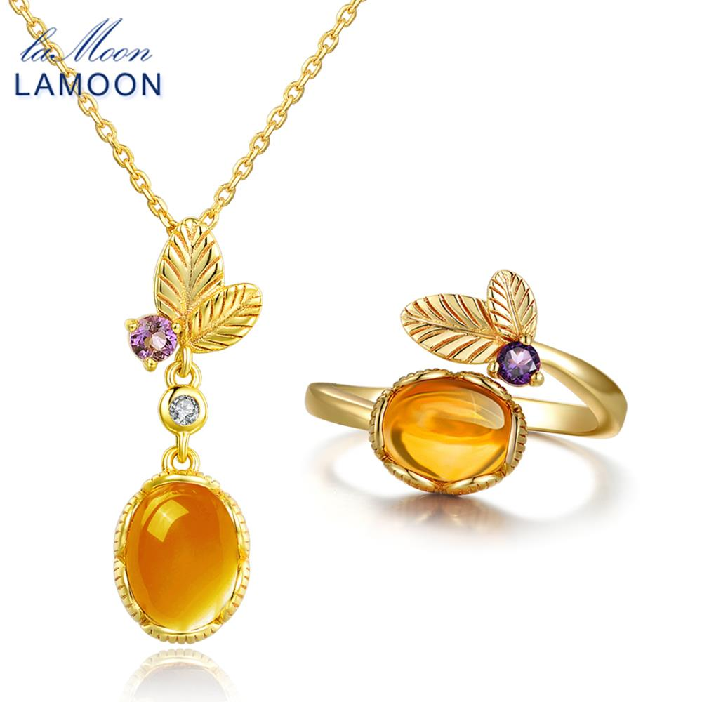 LAMOON classic flower 100% Natural Citrine 925 Sterling Silver Jewelry S925 Jewelry Set V022-3 наушники внутриканальные partner top 3 5мм