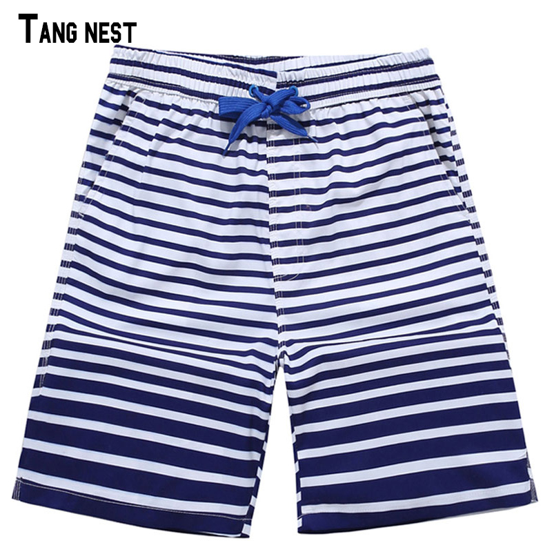 TANGNEST Men Beach   Shorts   Summer Style Casual Striped   Board     Shorts   Homme Bermuda   Short   Breathable Soft Beach   Shorts   MKD1336