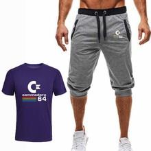 2019 Новый Высокое качество бренд мужской футболки костюм 2 шт. Случайные с коротким рукавом о-образ