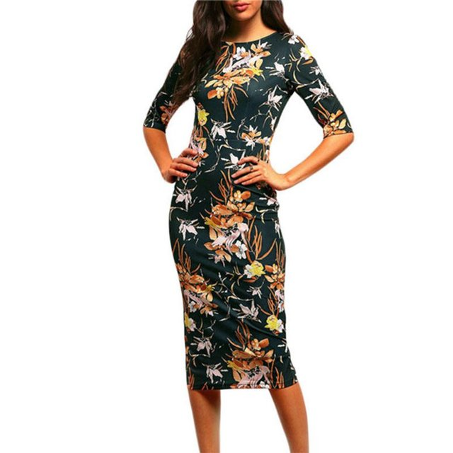 Vintage Women Casual Bodycon DressesGreen Mock Neck Floral Pencil Long Dress Vestidos Office Career Dress