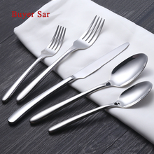5Pcs/Lot Silver Dinnerware Round Handle Pattern 18/10 Stainless Steel Cutlery Set Salad Fork Knife Scoops Faqueir Silverware