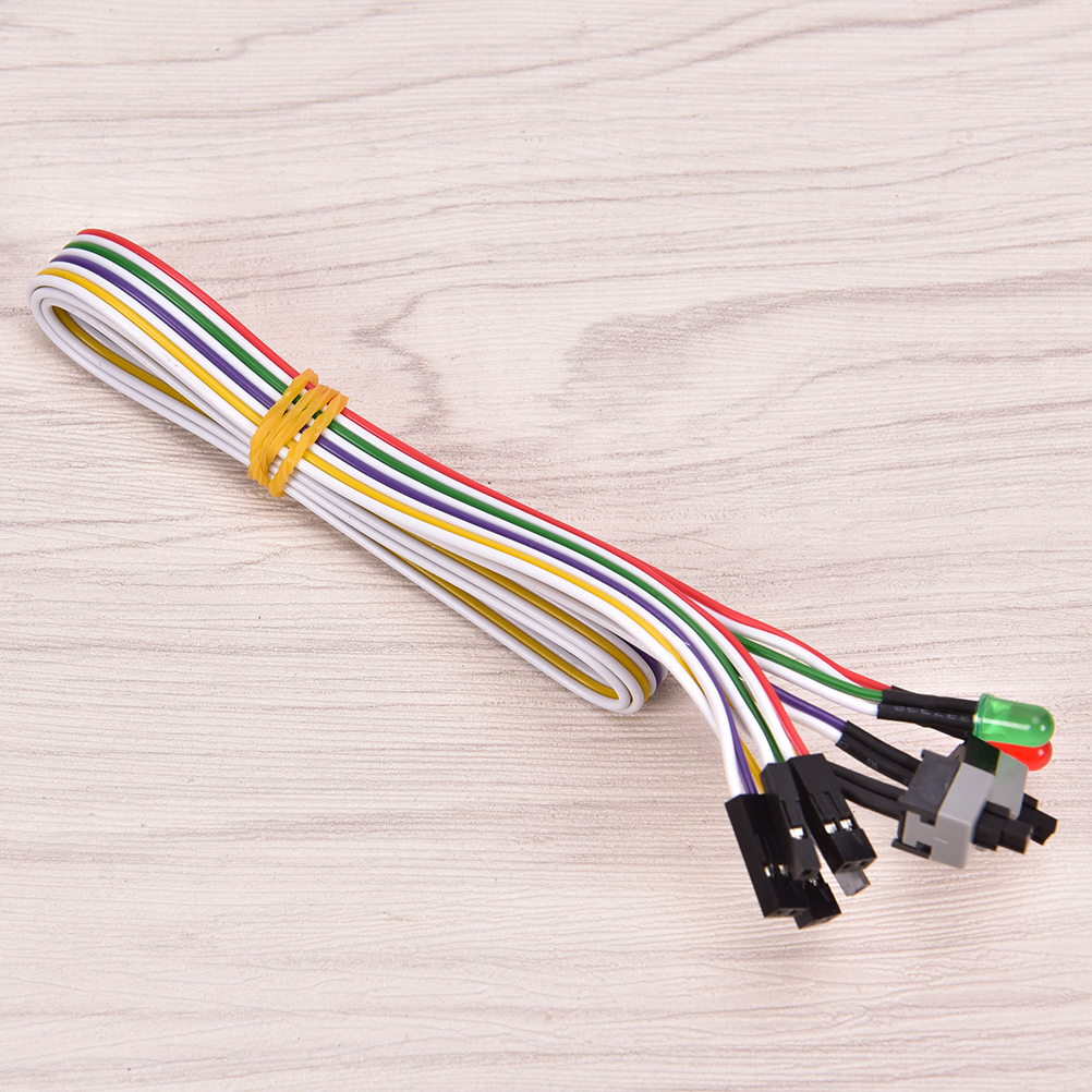 2 Switch On/Off/Reset W/ LED Light 68cm ATX PC Compute Motherboard Power Cable
