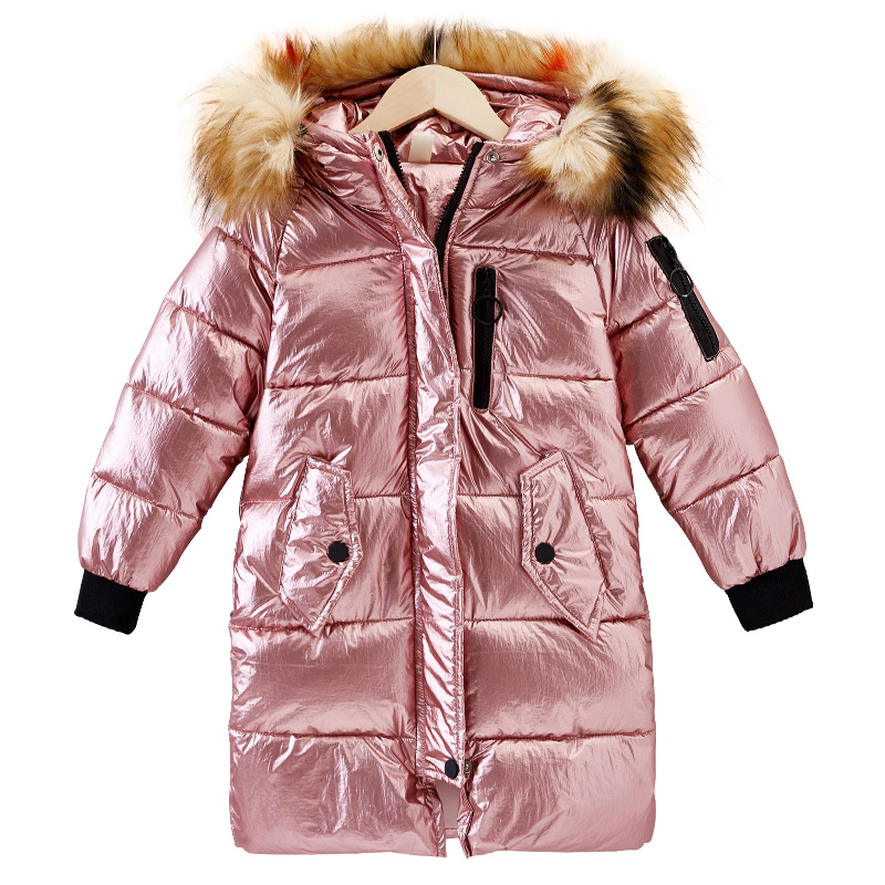 Natural fur 2018 New children Long Padded Girl Winter coat Kids Winter Coat Kids Warm with fur Thickening Hooded down Coats