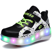 Double Wheel Breathable Glowing Boys Girls Roller Skates Sneakers LED Light Shoes Little Kids/Big Kids Flashing Board 30-39