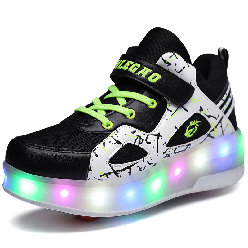Double Wheel Breathable Glowing Boys Girls Roller Skates Sneakers LED Light Shoes Little Kids/Big Kids Flashing Board 30-39 2017 heelys boy roller skate sneakers kids shoes with wheel shoe negro zapatillas con ruedas black chaussure led size 16 8 23cm