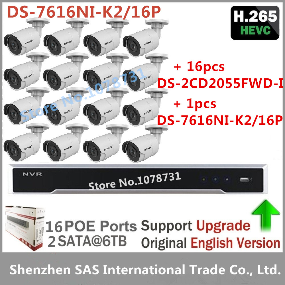Hikvision DS-7616NI-K2/16P NVR Embedded Plug & Play 4K NVR + 16pcs Hikvision 5MP H.265 CCTV Camera IP Camera DS-2CD2055FWD-I package sale cctv kit english nvr ds 7616ni e2 8p multi language 3mp ip camera ds 2cd2035 i 8pcs cctv system free shipping