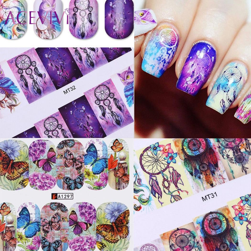 ACEVIVI 50 Sheets Nail Art Stickers Mixed Designs Watermark Transfer Manicure Tips DIY Nail Art Tips Guides Stencil Strip 24 styles french manicure diy 3d nail art tips guides stickers stencil strip nail hollow stickers nail art