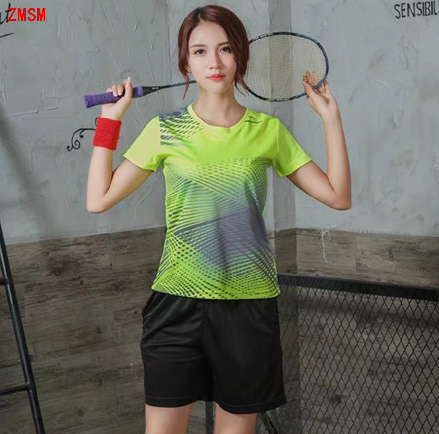 ZMSM Short Womens Tennis Shirts Kit 2018 Quick Dry Sportswear Table Tennis Badminton football Fitness running clothing F9831B