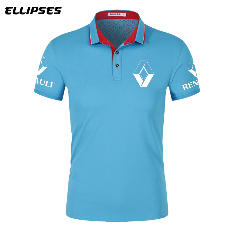 Renault Car   Polo   Shirt for Man Summer Renault Logo   Polo   Shirt Short Sleeve for Male Cotton Turn-down Collar Tops   Polo   Shirt Men