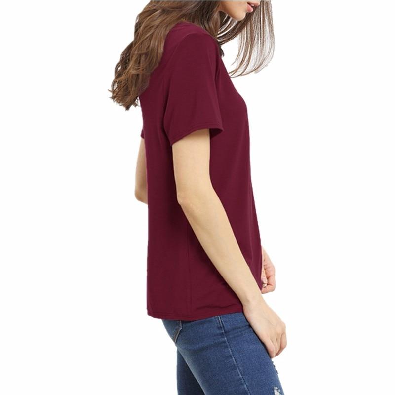 HTB1PGERMVXXXXXIXXXXq6xXFXXXG - Bandage Sexy V Neck Criss Cross Top Casual Lady Female T-shirt