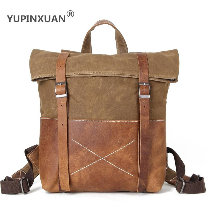 YUPINXUAN Europe Vintage Waterproof Canvas Backpacks for Men Oil Wax Male Retro Big Canvas Rucksacks With Cow Leather and Rivets men waterproof oil wax canvas bag retro casual male bag satchel business men s large capacity computer package
