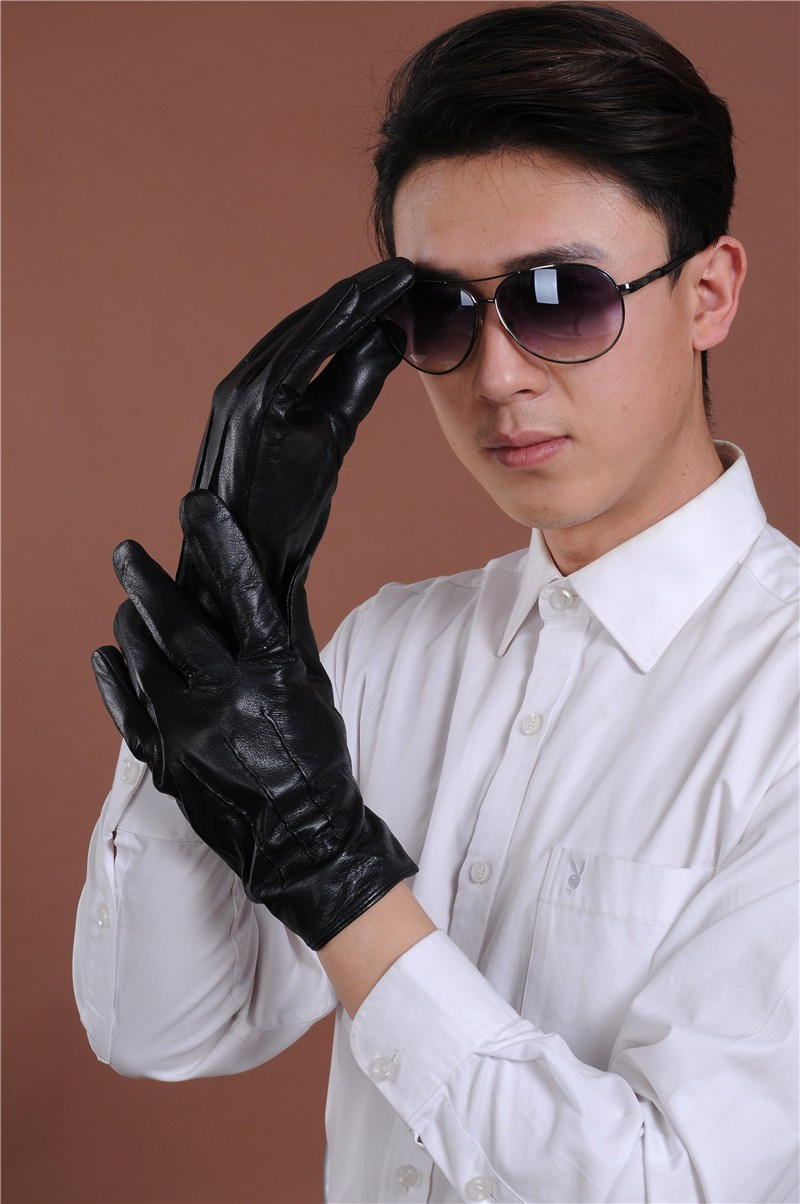 Black leather gloves cape town - Retail Men S Black Winter Fashion Sheepskin Leather Gloves Male Windproof Outdoor Driving Gloves China