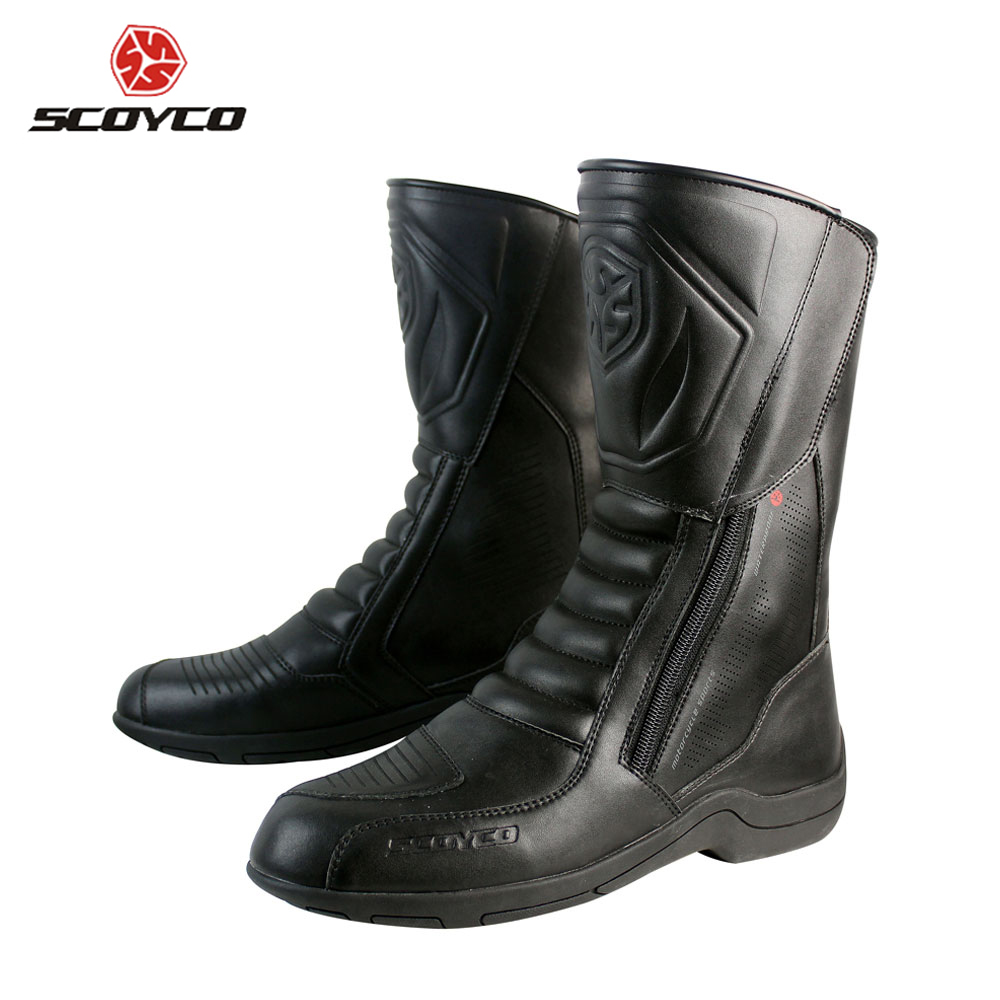 SCOYCO Motorcycle Boots Waterproof Leather Motorbike Long Riding Sport Road SPEED Professional Botas Motocross Shoes MBT007W ...