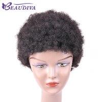 Krótkie Peruki Indyjski Remy Ludzki Włos Afro Curl Maszyny Wykonane Koronki 1b # Naturalny Kolor Włosów Ludzkich Peruk Dla Kobiet