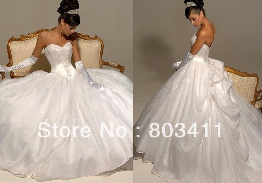 Freeshipping Ruched Basque Organza Designer Wedding Dress-in Wedding ...