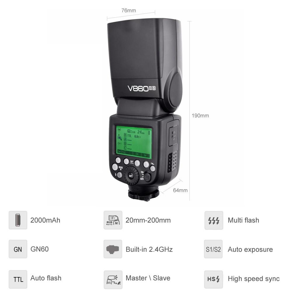 Image 3 - Godox V860II S V860II C 860II N V860II F V860II O GN60 TTL HSS Li ion Battery Speedlite Flash for Sony Nikon Canon Olympus Fujiflash for sonyspeedlite flashgodox ving -